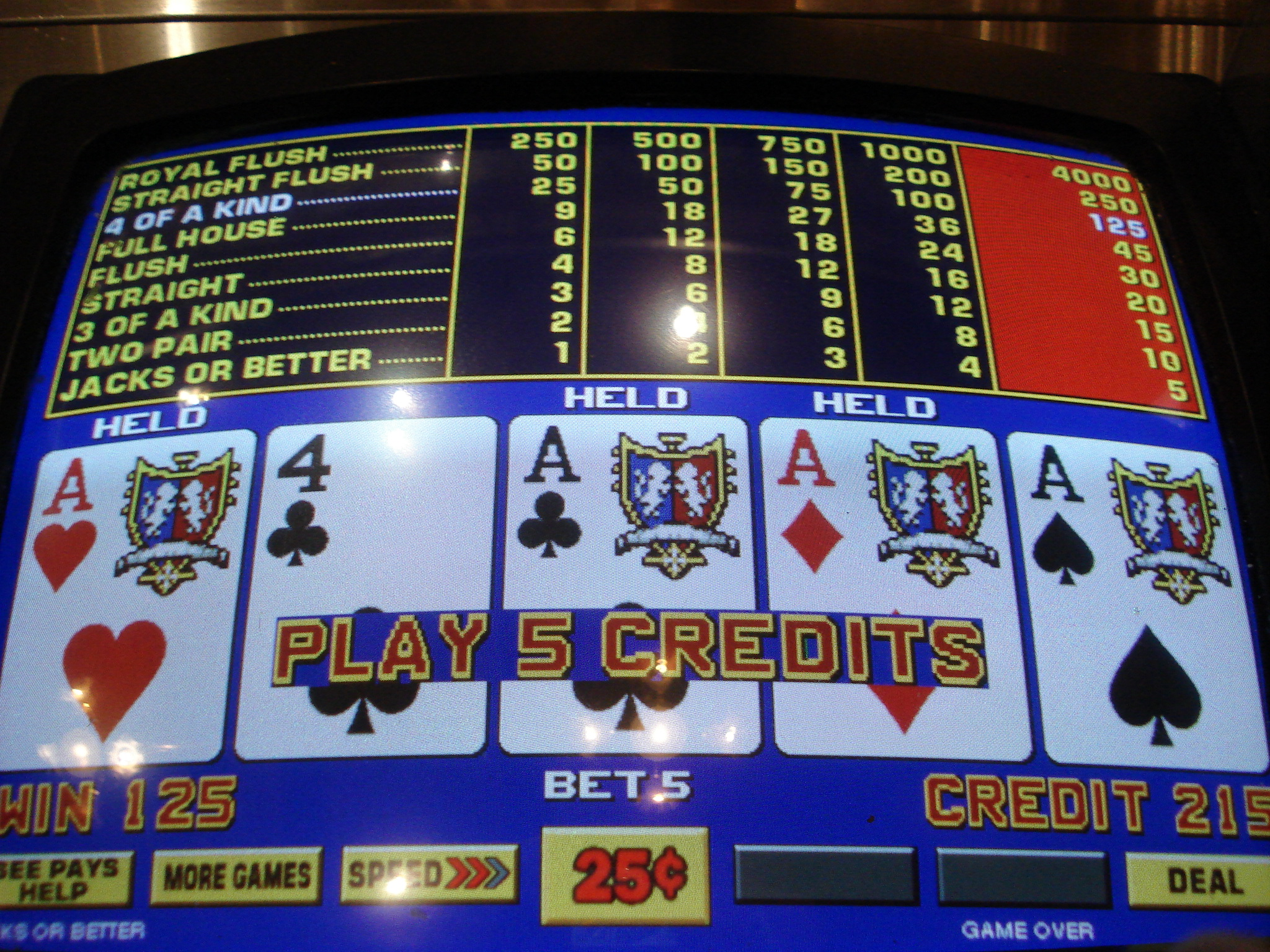 Payout table blackjack